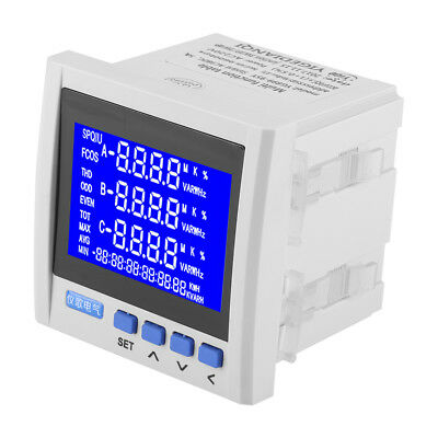 3-phase Lcd Digital Multifunction Meter Energy Accumulation Rs485 V A Hz Q P Stw