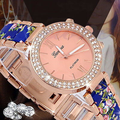 $4.82 - Luxury Fashion Women's Geneva Crystal Stainless Steel Quartz Analog Wrist Watch