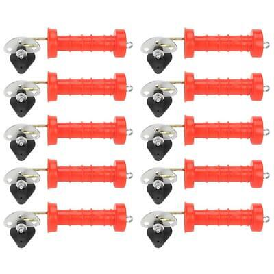 10 pcs Electric Fence Spring Gate Handles Plastic with 10 pcs Insulators Red NEW