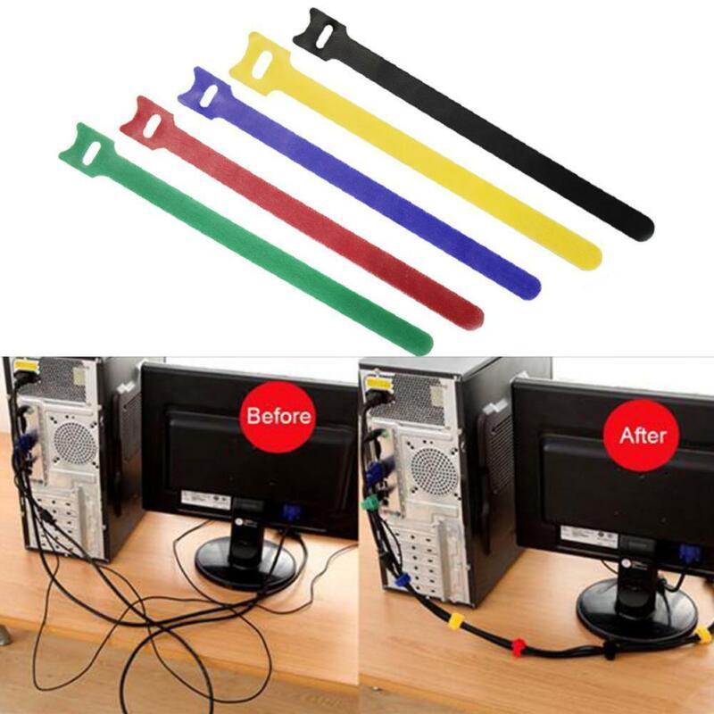 50x Reusable Black Cable Cord Nylon Strap Hook Loop Ties Tidy Organiser Tool Set
