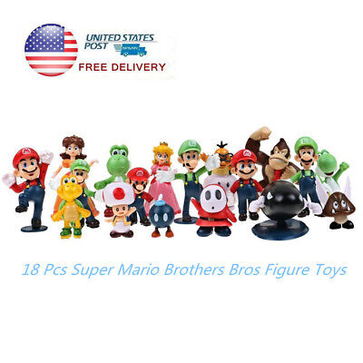 18 pcs Super Mario Brothers Bros Action Figure Cake Toppers Toys Playset Gift - Mario Cake Topper