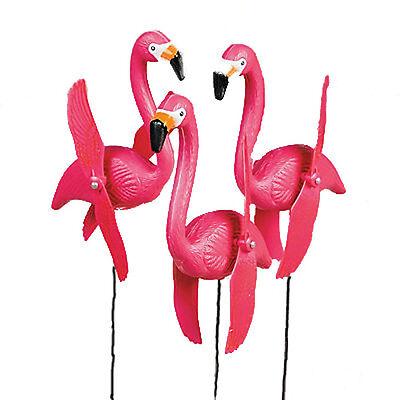 Spinning Pink Flamingo Yard Ornament Stakes Set Of 3 - Pink Flamingos Yard