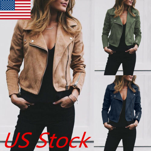 Women Ladies Leather Jacket Coats Zip Up Biker Casual Flight Top Coat Outwear US