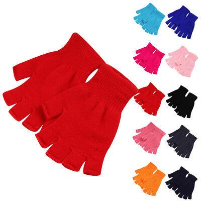 1 Pair Soft Half Fingerless Gloves Women Men Warm Knitted Mittens Couple (Knitted Fingerless Gloves)