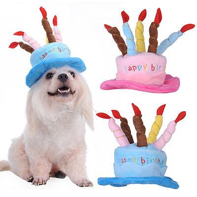 Pet Dog Cat Puppy Cap Happy Birthday Hat Teddy Poodle Velvet Headdress Headwear