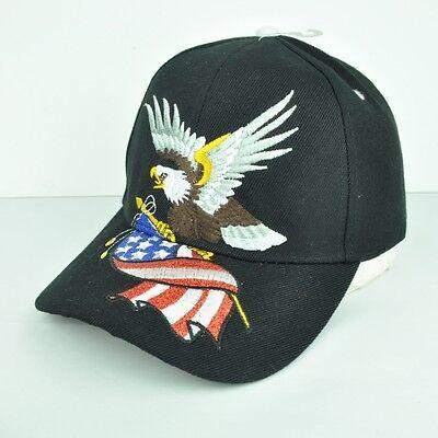Stati Uniti Bandiera Americana Calva Eagle Glitter Nero Regolabile Cappello Cap
