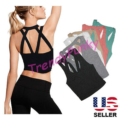 Women Caged Cropped Top Bustier Cutout Shirt Strappy Bralette Tank Cam Yoga