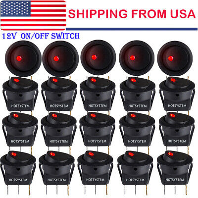 20x Rocker Switch Toggle 12v Red Led Light Car Auto Boat Round On-off Spst 20a