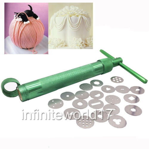 Zuckerpaste 20 Formen Fondant Presse Metal Clay Extruder Modellieren Tonpistole