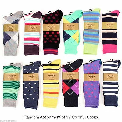 12 Pairs Mens Colorful Dress Socks Stripes Argyle Pattern Designer Fashion Lot