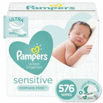 Pampers Sensitive Water Based Baby Wipes Hypoallergenic and Unscented, 576 Count