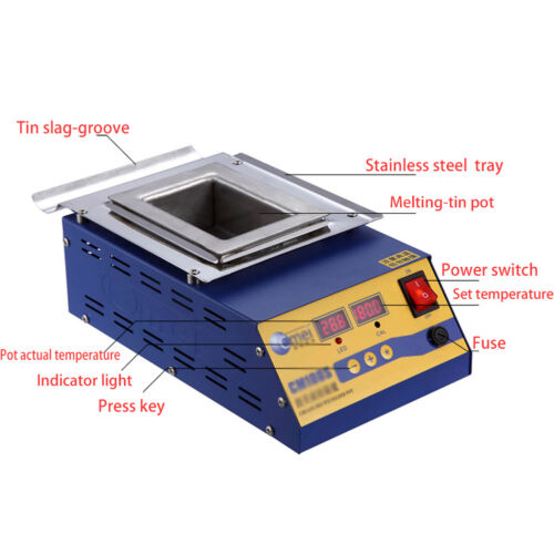 110V 900W Preheating Soldering Pot / Preheat Station Square Tin Pot 15*10cm