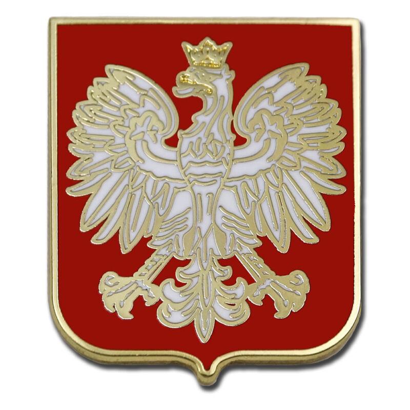 POLAND EAGLE POLISH RED SHIELD POLSKA CREST PREMIUM LAPEL PIN GIFT BOX VEGASBEE®