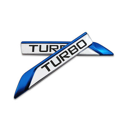 Pair Blue Metal TURBO Logo Car Emblem Side Fender Badge Sport Sticker Auto Decal