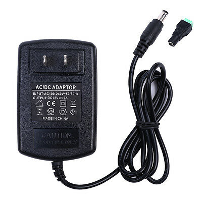 New AC 110-240V To DC 12V 2A Power Supply Adapter Transformer For LED Strip US