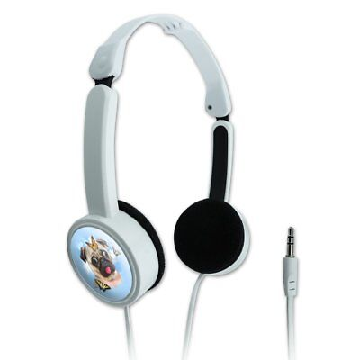 Pug Dog Butterflies Selfie Novelty Travel Portable On-Ear Foldable Headphones