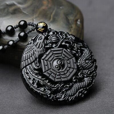 Jewellery - Natural Black Obsidian Dragon Phoenix Pendant Beads Chain Necklace Charm Jewelry