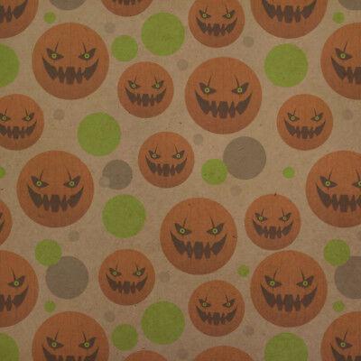 Jack-o'-lantern Pumpkin Face Halloween  Kraft Gift Wrap Wrapping Paper Roll](Halloween Gift Wrapper)