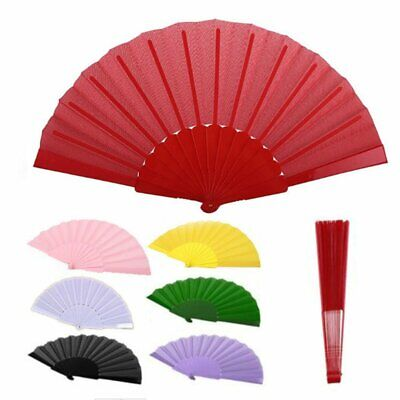 Spanish Fabric Folding Hand Held Fans Portavle Fans Dances Fan Party Wedding UK