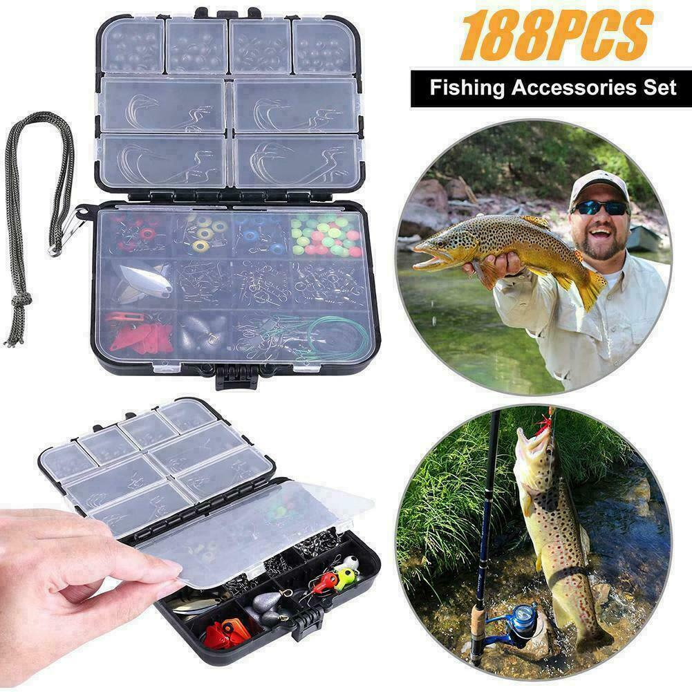 Fishing Kit Set with Tackle Box Pliers Hooks Sinker Weights Swivels Snap