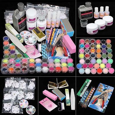 42 Acrylic Powder Liquid Nail Art Kit Glitter UV Gel Glue Tips Brush Set 2017 I