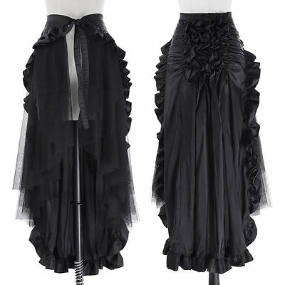 CHEAP! Lady Steampunk Victorian Ruffle Gothic Punk Bustle Lace Long Skirts DRESS