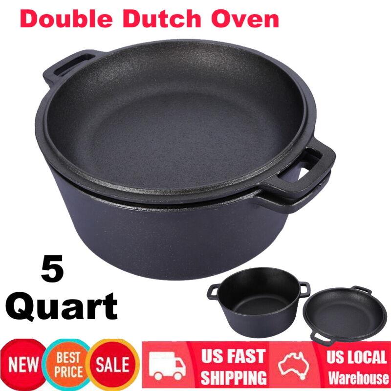 2 In 1 Pre Seasoned Cast Iron Skillet Double Dutch Oven 5-Quart Set Convert Lid