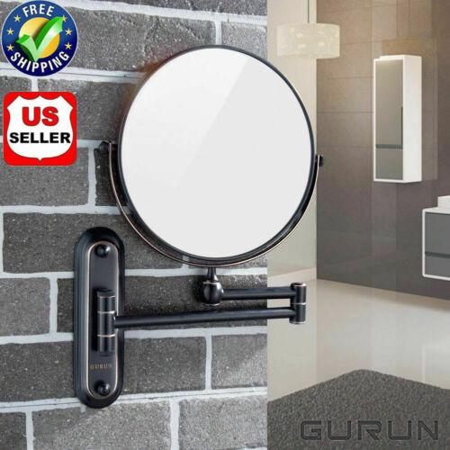 "GURUN Swivel Brass Wall Mount Makeup Mirror 8"" X7 Magnifying"