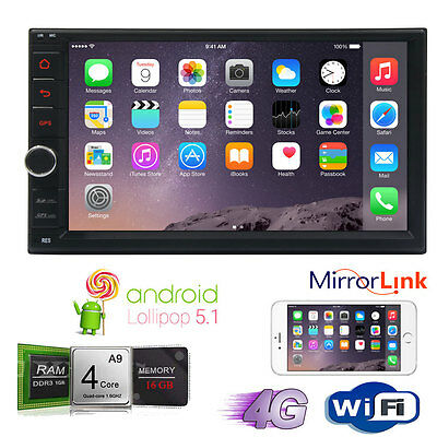 In-dash Android Auto Radio Double 2Din Stereo GPS Touchscreen Player BT USB Wifi