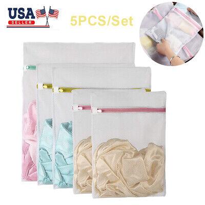 5PC Mesh Laundry Wash Bags Washing Net Set Lingerie Underwear Bra Clothes Travel