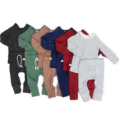 US Infant Baby Boy Girl Tops T-shirt+Long Pants Outfits Pajamas Pjs Clothes Set Baby Girls Long Sleeved Pajamas