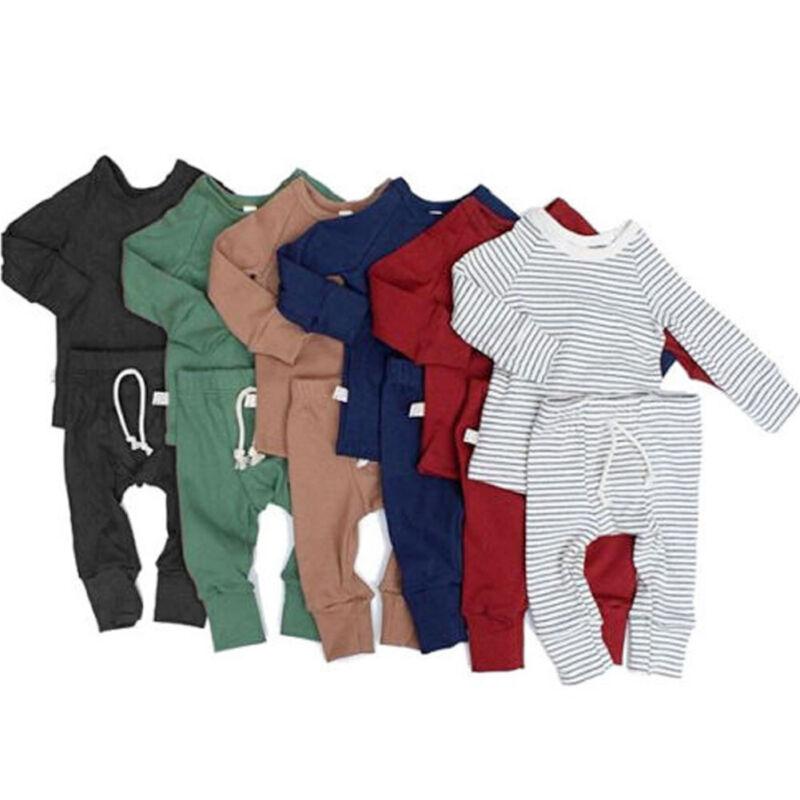 US Infant Baby Boy Girl Tops T-shirt+Long Pants Outfits Pajamas Pjs Clothes Set