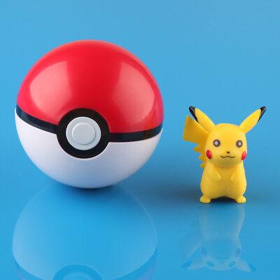 7cm Pokemon Pokeball Pop-up Plastic BALL Toy Action Figure+ Free Pikachu Monster
