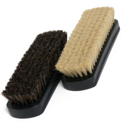 "7"" Horsehair Shoe Brushes – 2 Color Hair Made for Light & Dark Shoes or Boots"
