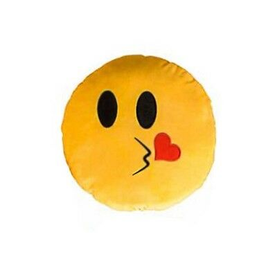 Kissy Face Emoticon (Kiss Face Yellow Emoji Pillow Smiley Plush Cushion Cell Phone Emoticon Toy)