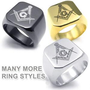 Freemasonry-Shack-Free-Mason-Ring-Choose-1-Steel-Black-Silver-Gold-Masonic-Rings