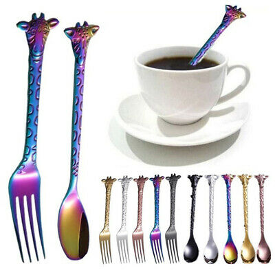 Stainless Steel Cartoon Giraffe Cake Dessert Ice Cream Spoon Salad Forks Cutlery
