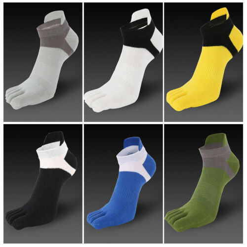 Men Breathable 5 Fingers Toe Sports Running Sock Trainer Ankle Socks Short Socks