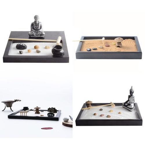 US Tabletop Mini Meditation Zen Garden w/ Pavilion statue Rock Venues Rake Sand