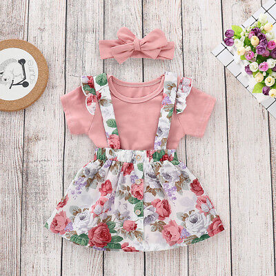 Newborn Baby Girl Clothes Romper Solid Tops+Dress Belt Skirts 3Pcs Outfits Set