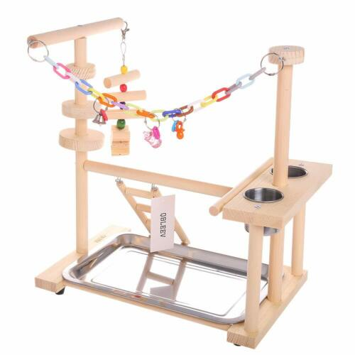 Parrot Playstand Bird Play Stand Playground Wood Perch Gym Playpen Ladder