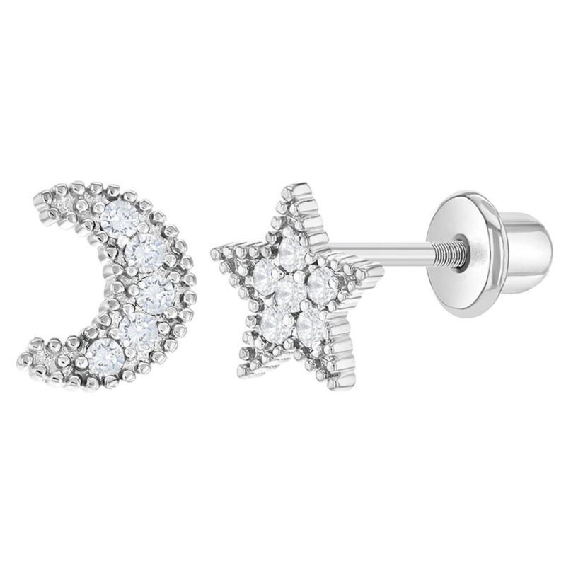 Rhodium Plated Clear CZ Moon & Star Safety Screw Back Earrings for Little Girls