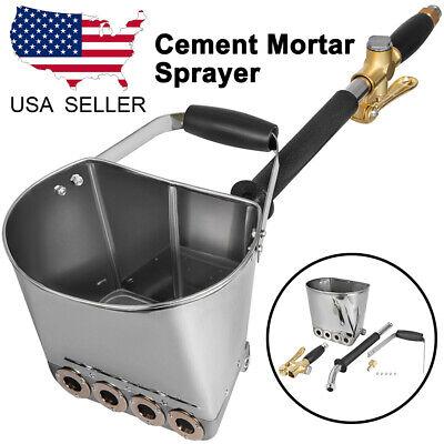 Cement Mortar Sprayer Hopper 4 Jet Paint Wall Stucco Concrete Tool Waterproof Us