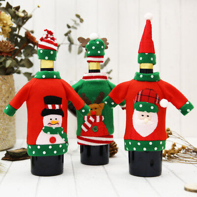 Charm Wine Bottle Cover Christmas Santa Elk Sweater Case Xmas Dinner Decor New