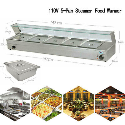 5-pan Steamer Bain-marie Buffet Countertop 110v 1500w Food Warmer Steam Table