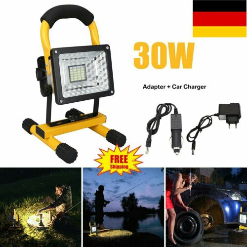 30W LED Fluter Akku Handlampe Arbeitsleuchte Baustrahler Floodlight StrahlerIP65