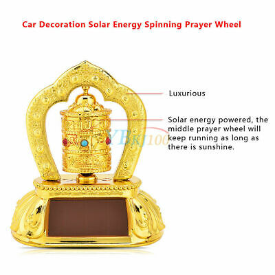 Car Truck Tibetan Tibet Buddhist Solar Energy Spinning Prayer Wheel Golden