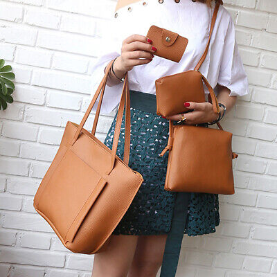 4PCS/Set Women Lady Leather Handbag Shoulder Bags Tote Purse Messenger Satchel Clothing, Shoes & Accessories