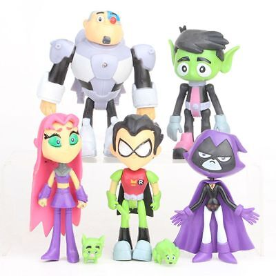 Teen Titans Go To the Movies Robin Cyborg Beast Boy Raven Action Figure Toy 7pcs