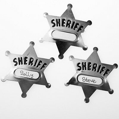 12 METAL SHERIFF BADGES COWBOY LAWMAN WILD WEST GOODY BAG CARNIVAL TOYS